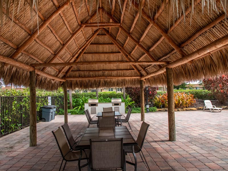 Photograph of underneath tikihut by pool